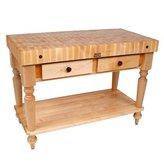 "John Boos American Heritage Rustica Butcher Block Table Size / Shelf: 48"" x 24"" with Shelf, Finish: Caviar Black"