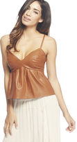 Arden B Faux Leather Flare Tank Top