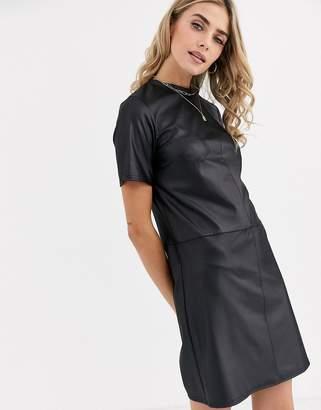 New Look pocket detail leather look smock dress in black