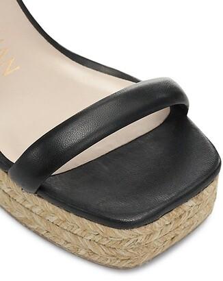 Stuart Weitzman Nudist Leather Espadrille Wedge Sandals