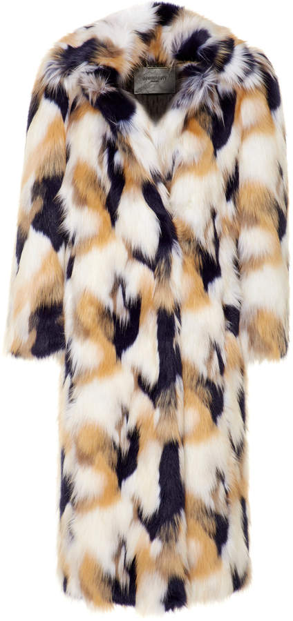 Givenchy Oversized Patchwork-Effect Faux Fur Coat