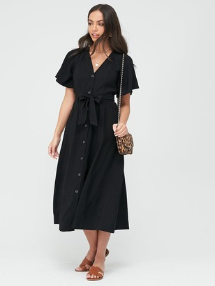 Whistles Anita Frill Sleeve Dress - Black