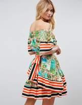 Asos Off Shoulder Dress in Postcard and Stripe Print