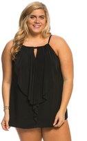Miraclesuit Plus Size Solid Ruffle Peephole Tankini Top 8137937