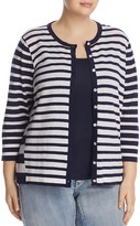 Foxcroft Plus Bev Mixed Stripe Cardigan