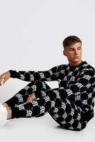 Gothic M All Over Print Knitted Jumper & Jogger Set