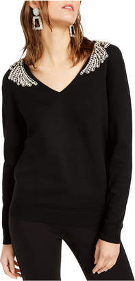 INC International Concepts Inc Embellished-Shoulder V-Neck Sweater
