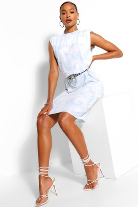 boohoo Tie Dye Print Shoulder Pad Midi T-Shirt Dress