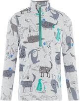 Joules Boys Half Zip Wolf Print T-Shirt