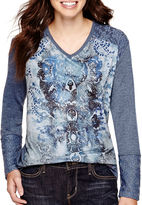 JCPenney ONE WORLD APPAREL Unity Long-Sleeve Mixed Media Sublimation Top