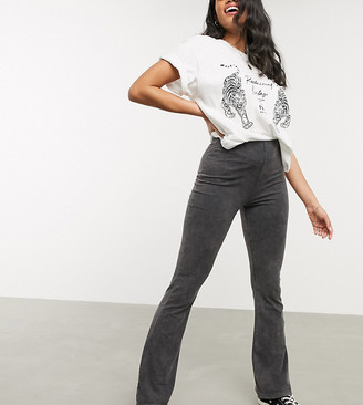 Reclaimed Vintage inspired flare trouser in charcoal acid wash