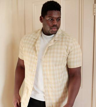Asos DESIGN Plus regular check shirt in ecru gingham