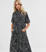Wednesday's Girl midi shirt dress with full skirt in heart print