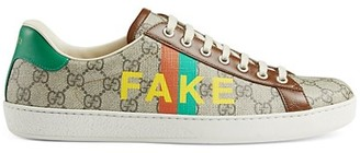 Gucci Men's New Ace Fake/Not Print Sneakers