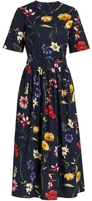 Oscar de la Renta Floral Short Sleeve Crew Midi Day Dress