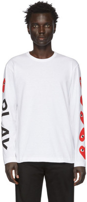Comme des Garcons White Play Long Sleeve T-Shirt