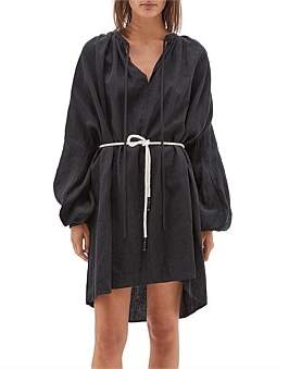 Bassike Linen Gathered Nk Shirt Dress