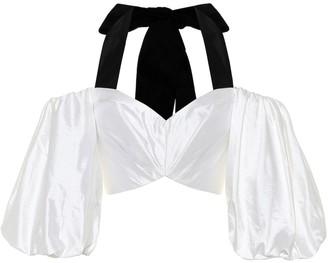 Rasario Halterneck silk-satin crop top