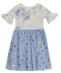 Rare Editions Toddler Girls Tye Dye to Foil Mesh Skirt Dress