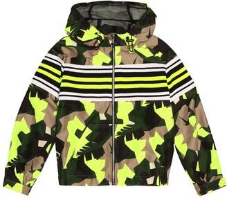 Msgm Kids Hooded camo-printed jacket