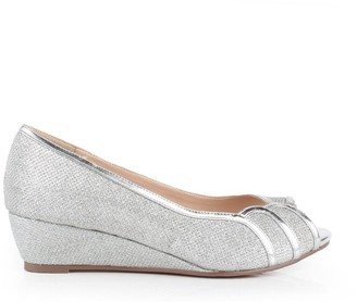 Paradox London Glitter Mesh 'Juno' Wide Fit Low Wedge Peep Toe