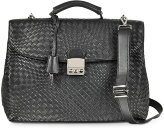 Forzieri Black Woven Leather Business Bag w/Shoulder Strap