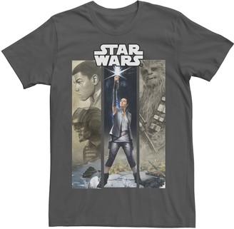 Marvel Men's Star Wars Last Jedi Rey, Finn, Poe, and Chewie Epic Panel Tee