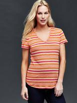 Linen stripe V-neck tee
