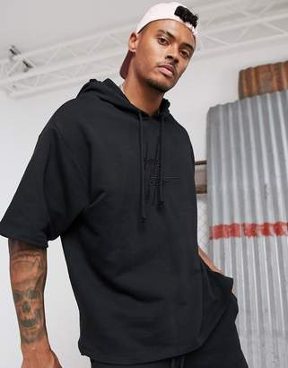Asos Design DESIGN co-ord oversized short sleeve hoodie in black with 3D embroidered dark future logo