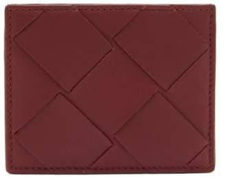 Bottega Veneta Intrecciato Woven-leather Card Holder - Womens - Burgundy