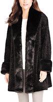 Black Fox & Persian Lamb Tuxedo Faux Fur Coat - Plus Too