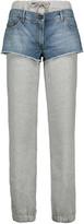 Moschino Layered denim and cotton tapered pants