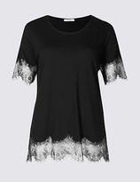 Classic Lace Hem Round Neck Short Sleeve T-Shirt