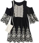 Knitworks Girls 7-16 Crochet Lace Embroidered Cold Shoulder Dress with Crochet Lace Purse