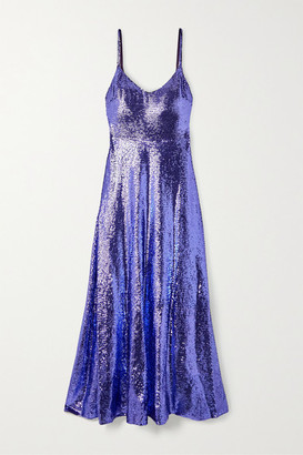 Valentino Sequined Silk-chiffon Gown - Purple