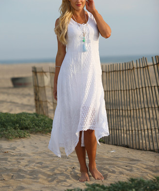 Ananda's Collection Women's Maxi Dresses White - White Crochet-Accent Hi-Low Cover Up - Women & Plus