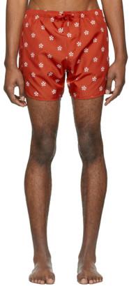 Neil Barrett Red and White Pattern Swim Shorts