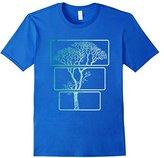 Men's Three Piece Tree T-Shirt Nature 3 Trees Trunk To Treetop Tee Small