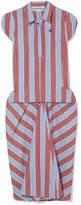 Carven Striped Cotton-poplin Midi Dress - Blue