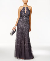 Adrianna Papell Beaded Halter Gown