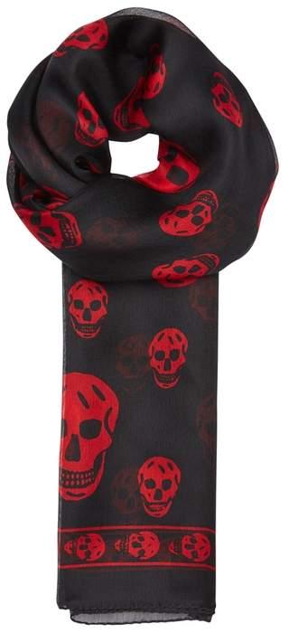 Alexander McQueen Skull-print Silk Chiffon Scarf