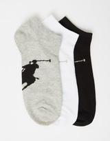 Polo Ralph Lauren 3-Pack Men's Big Pony Liner Socks