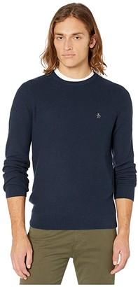 Original Penguin Tuck Stitch Sweater (Dark Charcoal Heather) Men's Clothing