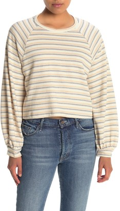Lush Striped Balloon Sleeve Crop Sweatshirt