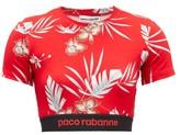 Paco Rabanne Hawaiian-print Jersey Cropped Top - Womens - Red Print