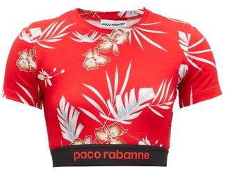 Paco Rabanne Hawaiian-print Jersey Cropped Top - Womens - Red Print