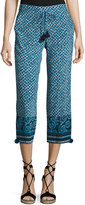 Figue Cropped Mixed-Print Silk Pants, Blue Pattern