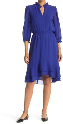Gabby Skye 3/4 Length Sleeves High/Low Ruffle Hem Midi Dress