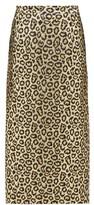 Alessandra Rich Leopard-brocade Pencil Skirt - Womens - Gold