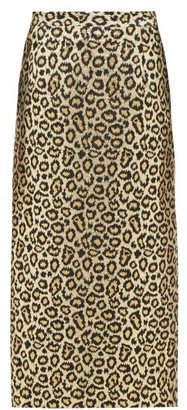 Alessandra Rich Leopard-brocade Pencil Skirt - Gold